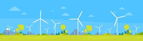 Baner för bakgrund för natur för resurs för utveckling för alternativ energi för vindstation stock illustrationer
