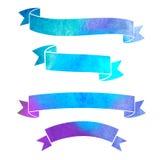 Baner för band för vektorvattenfärg färgrika Royaltyfri Foto