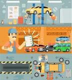 Baner för begrepp för bilreparationsservice royaltyfri illustrationer
