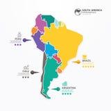 Baner för begrepp för figursåg för Sydamerika översiktsInfographic mall. royaltyfri illustrationer