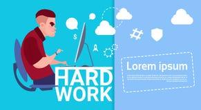 Baner för begrepp för hårt arbete för funktionsduglig dator för affärsman upptaget med kopieringsutrymme stock illustrationer