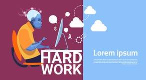Baner för begrepp för hårt arbete för Robotic dator för affärsman funktionsduglig upptaget med kopieringsutrymme vektor illustrationer