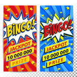 Baner för Bingolotterirengöringsduk Modig bakgrund för lotteri Form för smäll för komikerpop-konst stil på en röd vriden bakgrund Royaltyfria Bilder