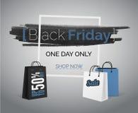 Baner för Black Friday blått försäljningsvektor med påsar och ramen royaltyfria bilder