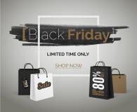 Baner för Black Friday försäljningsvektor för annonsering för rengöringsdukrabatthipster royaltyfria foton