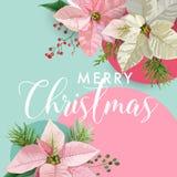 Baner för blomma för julvinterjulstjärna, grafisk bakgrund, blom- December inbjudan, reklamblad eller kort vektor illustrationer