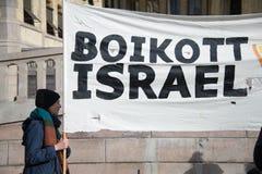 Baner 'för bojkottIsrael' protest Arkivfoto