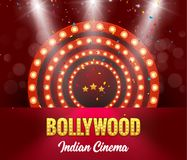 Baner för Bollywood indiskt biofilm Indisk bio Logo Sign Design Glowing Element med etappen stock illustrationer
