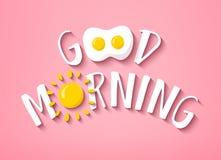 Baner för bra morgon med gullig text, solen och det stekte ägget på rosa bakgrund vektor Fotografering för Bildbyråer