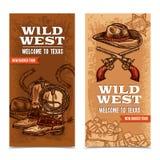 Baner för Cawboy vilda västernlodlinje royaltyfri illustrationer