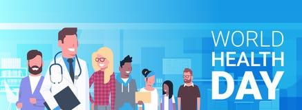 Baner för dag för världshälsa med affischen för ferie för patienter för medicinsk doktor Over Group Of den sunda stock illustrationer