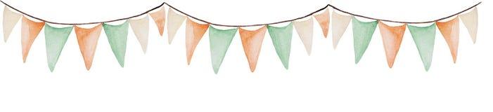 Baner för dag för vattenfärgSt Patrick ` s Flaggaprydnad För design, tryck eller bakgrund stock illustrationer