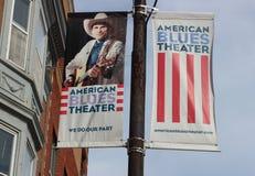 Baner för den amerikanska deppighetteatern, Chicago Av-ögla teater Royaltyfri Fotografi