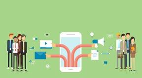 Baner för den digitala marknadsföringen för affär på mobil vektor illustrationer
