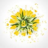 Baner för den internationella dagen för kvinna` s dekor av gula tulpan Royaltyfri Fotografi
