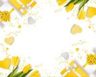 Baner för den internationella dagen för kvinna` s dekor av gula tulpan Royaltyfria Foton