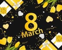 Baner för den internationella dagen för kvinna` s Mars 8 med dekoren Arkivbilder