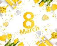 Baner för den internationella dagen för kvinna` s Mars 8 med dekoren Royaltyfria Bilder