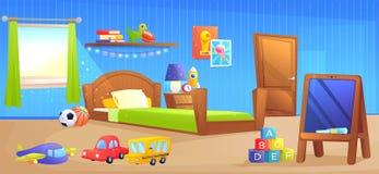 Baner för design för inre för ungepojkerum Med säng, skolförvaltningen, boken och leksaker vektor illustrationer