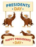 Baner för Eagles hållande presidentdag Royaltyfria Bilder