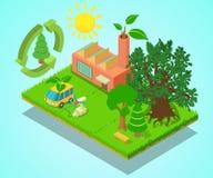 Baner för Eco ställebegrepp, isometrisk stil royaltyfri illustrationer