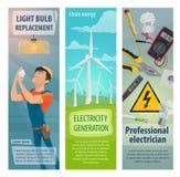 Baner för elektricitet för vektorelektrikeryrke royaltyfri illustrationer