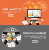Baner för emailmarknadsförings- och affärslösningar Fotografering för Bildbyråer
