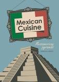 Baner för en mexicansk kokkonst för restaurang med flaggan stock illustrationer