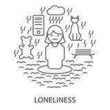 Baner för ensamhet Stock Illustrationer