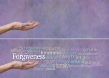 Baner för förlåtelseordmoln Arkivfoto
