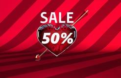 Baner för försäljning för hjärta för pil för dag för valentin` s Arkivbild
