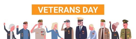 Baner för ferie för beröm för veterandag nationellt amerikanskt med gruppen av pensionerat militärt folk vektor illustrationer