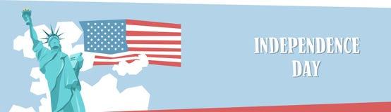 Baner för ferie för Liberty Statue Happy Independence Day Förenta staterna amerikanskt stock illustrationer