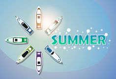 Baner för ferie för uppsättning för yacht för sommarsemester tropiskt stock illustrationer