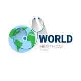 Baner för ferie för vård- dag för värld för jordplanetstetoskop globalt med kopieringsutrymme stock illustrationer