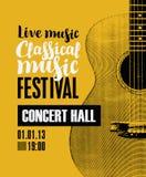 Baner för festivalklassisk musik med en gitarr Arkivfoto