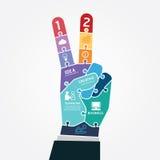 Baner för figursåg för affär för finger för Infographic mallseger stock illustrationer