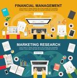 Baner för finansiell ledning och marknadsföringsforskning Plana designillustrationbegrepp för finans, affär, marknadsföring Royaltyfria Bilder