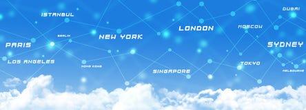 Baner för flygtransportanslutningar stock illustrationer