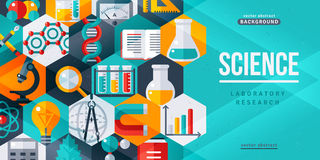 Baner för forskning för vetenskapslaboratorium idérikt royaltyfri illustrationer
