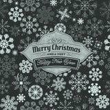Baner för glad jul på sömlös snöflingabakgrund Royaltyfri Bild