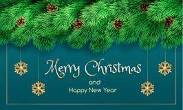 Baner för glad jul, realistisk stil vektor illustrationer