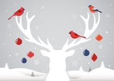 Baner för glad jul, Xmas-mallbakgrund med hjortkonturn, Xmas-garnering och fåglar royaltyfri illustrationer