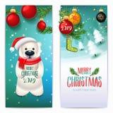 Baner för 2019 glade jul & för nytt år vektor illustrationer