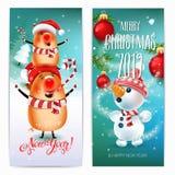Baner för 2019 glade jul & för nytt år Svin på vinterlandskap symbolet av den 2019 år julgranen i en snöig äng stock illustrationer