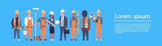 Baner för grupp för byggmästare för för Costruction arbetarTeam Industrial Technicians Mix Race man och kvinna horisontal vektor illustrationer