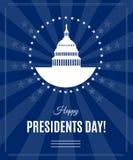Baner för hälsning för vektorpresidentdag med Washington DC Vektor Illustrationer