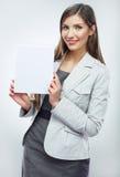 Baner för håll för affärskvinna, vit bakgrundsstående Arkivfoton