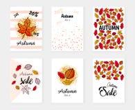 Baner för höstförsäljningsuppsättning också vektor för coreldrawillustration Affisch kort, etikett, banerdesignuppsättning Arkivfoton