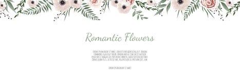 Baner för Horisontal botaniskt vektordesign Rosa ros, eukalyptus, suckulenter, blommor, grönska Kort för naturlig vår eller royaltyfri illustrationer